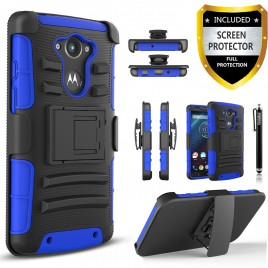 Motorola Droid Turbo Case, Dual Layers [Combo Holster] Case And Built-In Kickstand Bundled with [Premium Screen Protector] Hybird Shockproof And Circlemalls Stylus Pen (Blue)