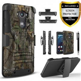 Motorola Droid Turbo Case, Dual Layers [Combo Holster] Case And Built-In Kickstand Bundled with [Premium Screen Protector] Hybird Shockproof And Circlemalls Stylus Pen (Camo)