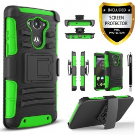 Motorola Droid Turbo Case, Dual Layers [Combo Holster] Case And Built-In Kickstand Bundled with [Premium Screen Protector] Hybird Shockproof And Circlemalls Stylus Pen (Green)