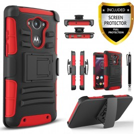 Motorola Droid Turbo Case, Dual Layers [Combo Holster] Case And Built-In Kickstand Bundled with [Premium Screen Protector] Hybird Shockproof And Circlemalls Stylus Pen (Red)