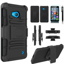 Nokia Lumia 640 Case, Dual Layers [Combo Holster] Case And Built-In Kickstand Bundled with [Premium Screen Protector] Hybird Shockproof And Circlemalls Stylus Pen (Black)