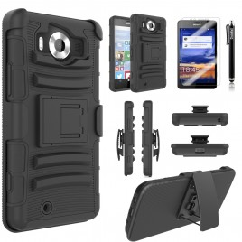 Nokia Lumia 950 Case, Dual Layers [Combo Holster] Case And Built-In Kickstand Bundled with [Premium Screen Protector] Hybird Shockproof And Circlemalls Stylus Pen (Black)