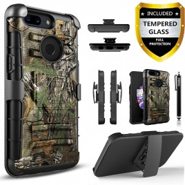 OnePlus 5T Case, Dual Layers [Combo Holster] Case And Built-In Kickstand Bundled with [Tempered Glass Screen Protector] Hybird Shockproof And Circlemalls Stylus Pen (Camo)