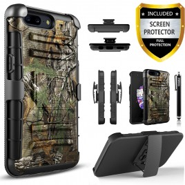 OnePlus 5 Case, Circlemalls Dual Layers [Combo Holster] And Built-In Kickstand Bundled With [Premium Screen Protector] Hybird Shockproof And Touch Screen Pen (Camo)