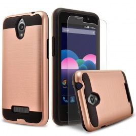 ZTE Obsidian Case, 2-Piece Style Hybrid Shockproof Hard Case Cover with [Premium Screen Protector] Hybird Shockproof And Circlemalls Stylus Pen (Rose Gold)