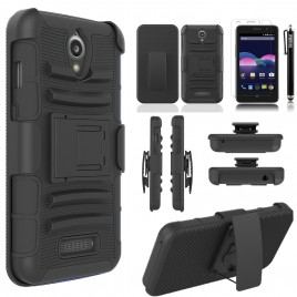 ZTE Obsidian Case, Dual Layers [Combo Holster] Case And Built-In Kickstand Bundled with [Premium Screen Protector] Hybird Shockproof And Circlemalls Stylus Pen (Black)