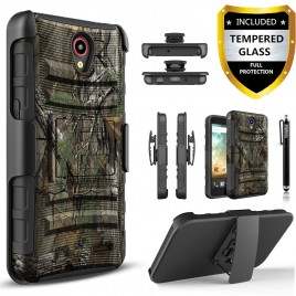 ZTE Avid Plus, ZTE Zfive, ZTE Prestige, ZTE Sonata, ZTE Maven 2 Case, Dual Layers [Combo Holster] Case And Built-In Kickstand Bundled with [Premium Screen Protector] Hybird Shockproof And Circlemalls Stylus Pen (Camo)