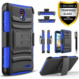 ZTE Avid Plus, ZTE Zfive, ZTE Prestige, ZTE Sonata, ZTE Maven 2 Case, Dual Layers [Combo Holster] Case And Built-In Kickstand Bundled with [Premium Screen Protector] Hybird Shockproof And Circlemalls Stylus Pen (Blue)