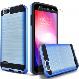 ZTE Blade Force Case, 2-Piece Style Hybrid Shockproof Hard Case Cover with [Premium Screen Protector] Hybird Shockproof And Circlemalls Stylus Pen (Blue)