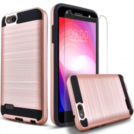 ZTE Blade Force Case, 2-Piece Style Hybrid Shockproof Hard Case Cover with [Premium Screen Protector] Hybird Shockproof And Circlemalls Stylus Pen (Rose Gold)