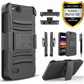 ZTE Blade Force Case, Dual Layers [Combo Holster] Case And Built-In Kickstand Bundled with [Premium Screen Protector] Hybird Shockproof And Circlemalls Stylus Pen (Black)
