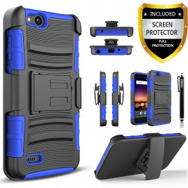 ZTE Tempo X Case, Dual Layers [Combo Holster] Case And Built-In Kickstand Bundled with [Premium Screen Protector] Hybird Shockproof And Circlemalls Stylus Pen (Blue)