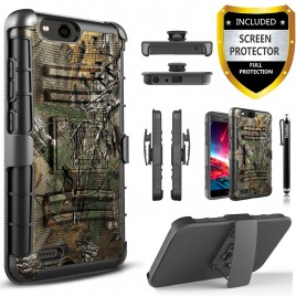 ZTE Blade Force Case, Dual Layers [Combo Holster] Case And Built-In Kickstand Bundled with [Premium Screen Protector] Hybird Shockproof And Circlemalls Stylus Pen (Camo)