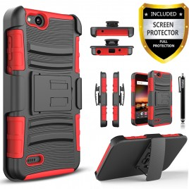 ZTE Blade Force Case, Dual Layers [Combo Holster] Case And Built-In Kickstand Bundled with [Premium Screen Protector] Hybird Shockproof And Circlemalls Stylus Pen (Red)