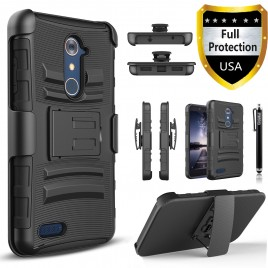 ZTE Zmax Pro Case, Dual Layers [Combo Holster] Case And Built-In Kickstand Bundled Hybird Shockproof And Circlemalls Stylus Pen (Black)