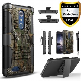 ZTE Zmax Pro Case, Dual Layers [Combo Holster] Case And Built-In Kickstand Bundled Hybird Shockproof And Circlemalls Stylus Pen (Camo)