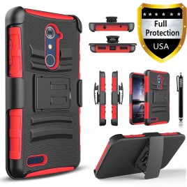 ZTE Zmax Pro Case, Dual Layers [Combo Holster] Case And Built-In Kickstand Bundled Hybird Shockproof And Circlemalls Stylus Pen (Red)
