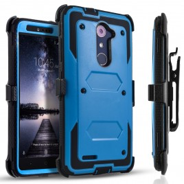 ZTE Zmax Pro Case, [SUPER GUARD] Dual Layer Protection With [Built-in Screen Protector] Holster Locking Belt Clip+Circle(TM) Stylus Touch Screen Pen (Blue)