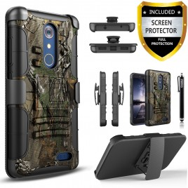 ZTE Grand X4 Case, Dual Layers [Combo Holster] Case And Built-In Kickstand Bundled with [Premium Screen Protector] Hybird Shockproof And Circlemalls Stylus Pen (Camo)