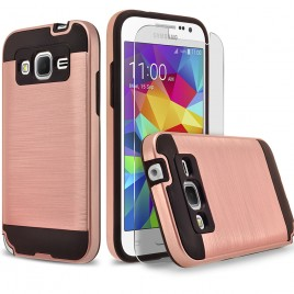 Samsung Galaxy E5 Case, 2-Piece Style Hybrid Shockproof Hard Case Cover with [Premium Screen Protector] Hybird Shockproof And Circlemalls Stylus Pen (Rose Gold)