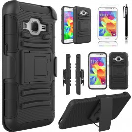 Samsung Galaxy Core Prime, Galaxy Prevail LTE Case, Dual Layers [Combo Holster] Case And Built-In Kickstand Bundled with [Premium Screen Protector] Hybird Shockproof And Circlemalls Stylus Pen (Black)