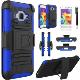 Samsung Galaxy Core Prime, Galaxy Prevail LTE Case, Dual Layers [Combo Holster] Case And Built-In Kickstand Bundled with [Premium Screen Protector] Hybird Shockproof And Circlemalls Stylus Pen (Blue)