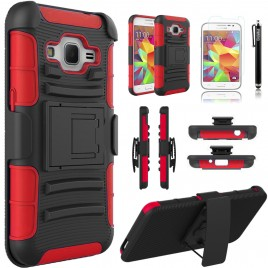 Samsung Galaxy Core Prime, Galaxy Prevail LTE Case, Dual Layers [Combo Holster] Case And Built-In Kickstand Bundled with [Premium Screen Protector] Hybird Shockproof And Circlemalls Stylus Pen (Red)