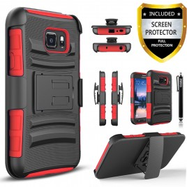 Samsung Galaxy S6 Case, Dual Layers [Combo Holster] Case And Built-In Kickstand Bundled with [Premium Screen Protector] Hybird Shockproof And Circlemalls Stylus Pen (Red)