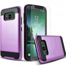 Samsung Galaxy S8 Active Case, 2-Piece Style Hybrid Shockproof Hard Case Cover with [Premium Screen Protector] Hybird Shockproof And Circlemalls Stylus Pen (Purple)