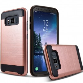 Samsung Galaxy S8 Active Case, 2-Piece Style Hybrid Shockproof Hard Case Cover with [Premium Screen Protector] Hybird Shockproof And Circlemalls Stylus Pen (Rose Gold)