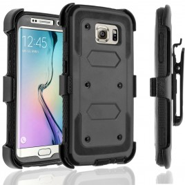 Samsung Galaxy S6 Edge Plus Case, [SUPER GUARD] Dual Layer Protection With [Built-in Screen Protector] Holster Locking Belt Clip+Circle(TM) Stylus Touch Screen Pen (Black)