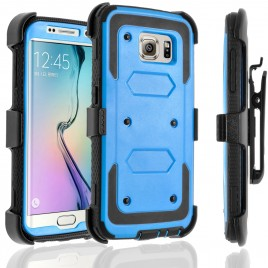 Samsung Galaxy S6 Edge Plus Case, [SUPER GUARD] Dual Layer Protection With [Built-in Screen Protector] Holster Locking Belt Clip+Circle(TM) Stylus Touch Screen Pen (Blue)