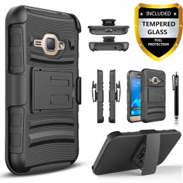 Samsung Galaxy On5, Galaxy J5 Prime Case, Dual Layers [Combo Holster] Case And Built-In Kickstand Bundled with [Premium Screen Protector] Hybird Shockproof And Circlemalls Stylus Pen (Black)