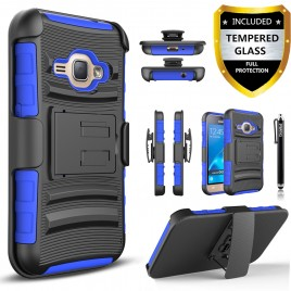 Samsung Galaxy J1 Case, Dual Layers [Combo Holster] Case And Built-In Kickstand Bundled with [Premium Screen Protector] Hybird Shockproof And Circlemalls Stylus Pen (Blue)