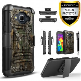 Samsung Galaxy Core Prime, Galaxy Prevail LTE Case, Dual Layers [Combo Holster] Case And Built-In Kickstand Bundled with [Premium Screen Protector] Hybird Shockproof And Circlemalls Stylus Pen (Camo)
