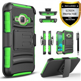 Samsung Galaxy J1 Case, Dual Layers [Combo Holster] Case And Built-In Kickstand Bundled with [Premium Screen Protector] Hybird Shockproof And Circlemalls Stylus Pen (Green)