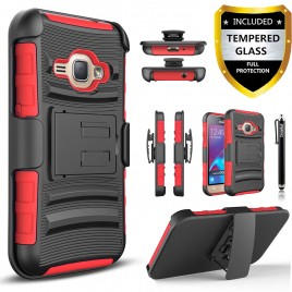 Samsung Galaxy J1 Case, Dual Layers [Combo Holster] Case And Built-In Kickstand Bundled with [Premium Screen Protector] Hybird Shockproof And Circlemalls Stylus Pen (Red)