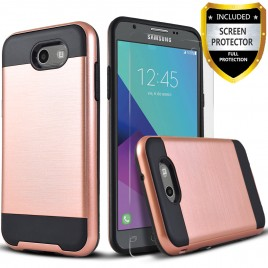 Samsung Galaxy J7 Prime, Galaxy On7 Case, 2-Piece Style Hybrid Shockproof Hard Case Cover with [Premium Screen Protector] Hybird Shockproof And Circlemalls Stylus Pen (Rose Gold)