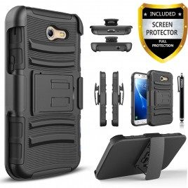 Samsung Galaxy J7 Prime, Galaxy On7 Case, Dual Layers [Combo Holster] Case And Built-In Kickstand Bundled Hybird Shockproof And Circlemalls Stylus Pen (Black)