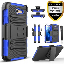 Samsung Galaxy J7 Prime, Galaxy On7 Case, Dual Layers [Combo Holster] Case And Built-In Kickstand Bundled Hybird Shockproof And Circlemalls Stylus Pen (Blue)