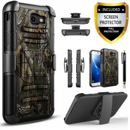 Samsung Galaxy J7 Prime, Galaxy On7 Case, Dual Layers [Combo Holster] Case And Built-In Kickstand Bundled Hybird Shockproof And Circlemalls Stylus Pen (Camo)