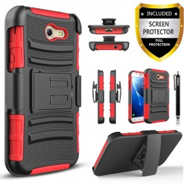 Samsung Galaxy J7 Prime, Galaxy On7 Case, Dual Layers [Combo Holster] Case And Built-In Kickstand Bundled Hybird Shockproof And Circlemalls Stylus Pen (Red)