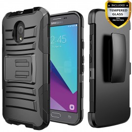 Circlemalls Combo Holster Samsung Galaxy J3 Orbit Case/Galaxy J3 Eclipse 2/J3 Prime 2/J3 Express Prime/J3 Achieve/Galaxy J3 Emerge 2018 Case Case, With [Tempered Glass Screen Protector] And Stylus Pen-Black