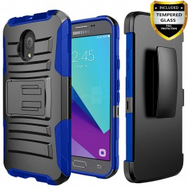 Circlemalls Combo Holster Samsung Galaxy J3 Orbit Case/Galaxy J3 Eclipse 2/J3 Prime 2/J3 Express Prime/J3 Achieve/Galaxy J3 Emerge 2018 Case Case, With [Tempered Glass Screen Protector] And Stylus Pen-Blue