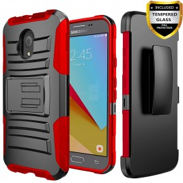 Circlemalls Combo Holster Samsung Galaxy J3 Orbit Case/Galaxy J3 Eclipse 2/J3 Prime 2/J3 Express Prime/J3 Achieve/Galaxy J3 Emerge 2018 Case Case, With [Premium Screen Protector] And Stylus Pen-Red