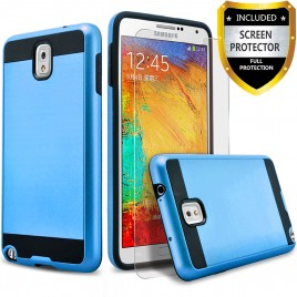 Samsung Galaxy Note 3 Case, 2-Piece Style Hybrid Shockproof Hard Case Cover with [Premium Screen Protector] Hybird Shockproof And Circlemalls Stylus Pen (Blue)