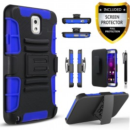 Samsung Galaxy Note 3 Case, Dual Layers [Combo Holster] Case And Built-In Kickstand Bundled with [Premium Screen Protector] Hybird Shockproof And Circlemalls Stylus Pen (Blue)
