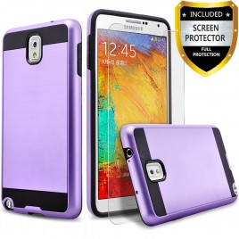Samsung Galaxy Note 3 Case, 2-Piece Style Hybrid Shockproof Hard Case Cover with [Premium Screen Protector] Hybird Shockproof And Circlemalls Stylus Pen (Purple)