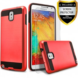 Samsung Galaxy Note 3 Case, 2-Piece Style Hybrid Shockproof Hard Case Cover with [Premium Screen Protector] Hybird Shockproof And Circlemalls Stylus Pen (Red)