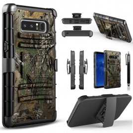 Samsung Galaxy Note 8 Case, Dual Layers [Combo Holster] Case And Built-In Kickstand Bundled with Hybird Shockproof And Circlemalls Stylus Pen (Camo)